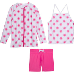girls' rash guard swimsuit set with shorts pink long sleeve swimzip