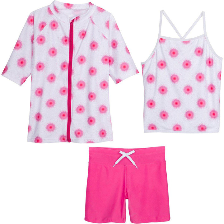 "Little Girl Short Sleeve Rash Guard Shorts Set - 3 Piece ""Graffiti Splash"" - SwimZip Sun Protection Swimwear"