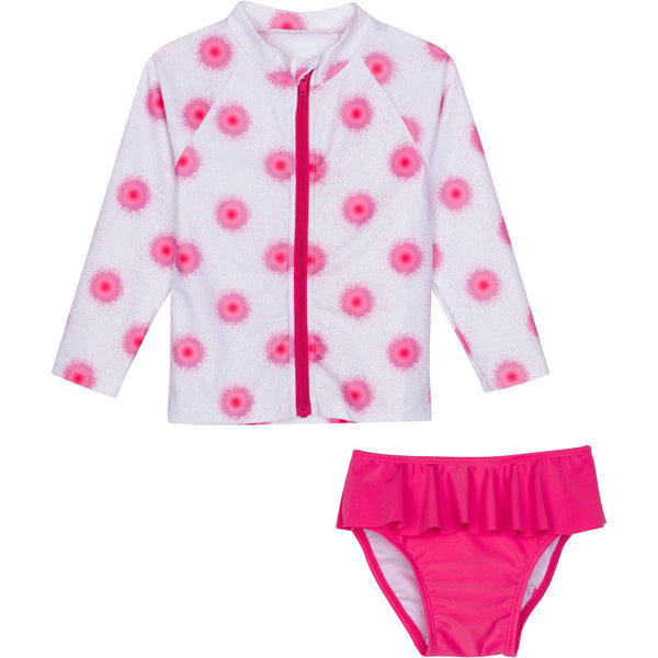 "Little Girl Long Sleeve Rash Guard Swimsuit Set (2 Piece) - ""Graffiti Splash"""