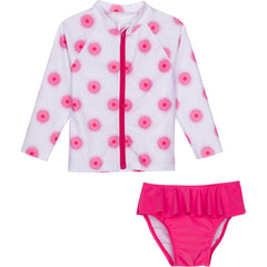little girl pink white circle rash guard set toddler swimzip zipper upf uv