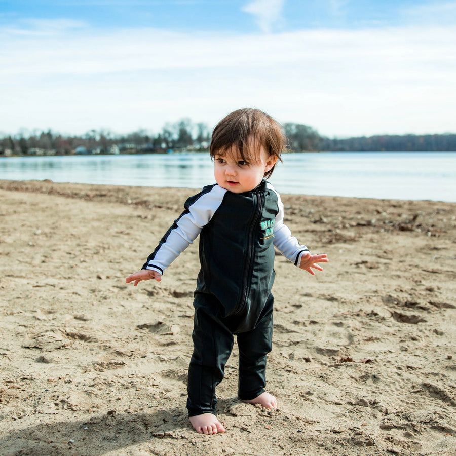 "Sunsuit - Boy Long Sleeve Romper Swimsuit with UPF 50+ | ""Beach Bum"""