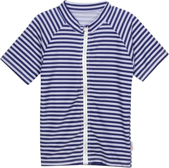Rash Guard Shirts - Short Sleeve with SPF 50+ UV Sun Protection and Zipper NAVY WHITE STRIPES