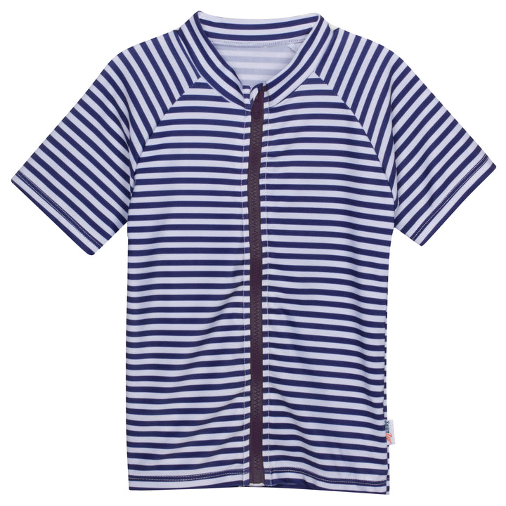 "Kid's Short Sleeve Rash Guard - Navy & White Stripe ""Stunner"" - SwimZip Sun Protection Swimwear"