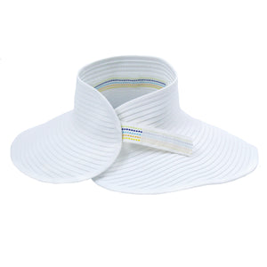 Women's Wide Brim Sun Visor - White-Adult-White-SwimZip UPF 50+ Sun Protective Swimwear & UV Zipper Rash Guards-pos3