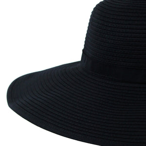 Women's Wide Brim Sun Hat - Black - SwimZip Sun Protection Swimwear