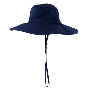 Women's Wide Brim Sun Hat - Navy-Adult-Navy-SwimZip UPF 50+ Sun Protective Swimwear & UV Zipper Rash Guards-pos1