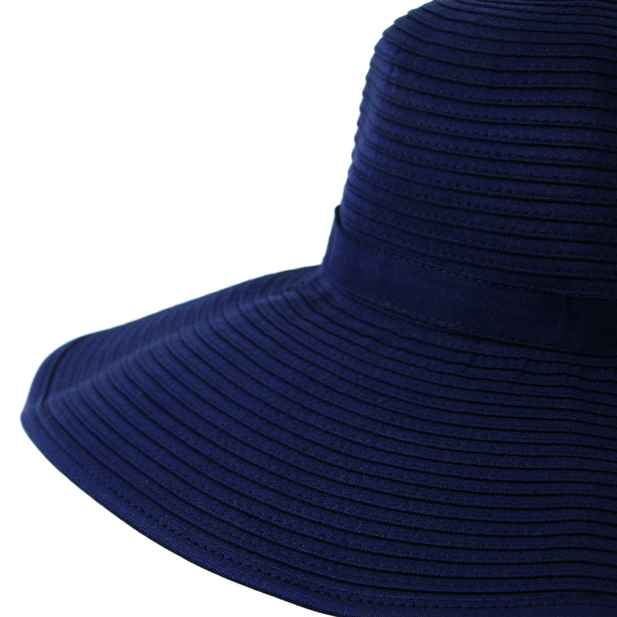 Women's Wide Brim Sun Hat - Navy-Adult-Navy-SwimZip UPF 50+ Sun Protective Swimwear & UV Zipper Rash Guards-pos4