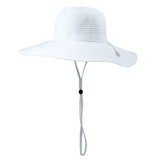 Women's Wide Brim Sun Hat - White-Adult-White-SwimZip UPF 50+ Sun Protective Swimwear & UV Zipper Rash Guards-pos1