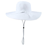 Women's Wide Brim Sun Hat - White-Adult-White-SwimZip UPF 50+ Sun Protective Swimwear & UV Zipper Rash Guards-pos4