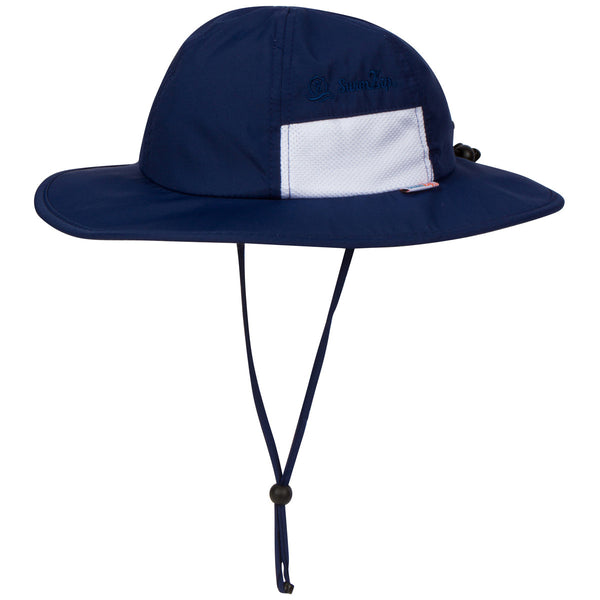 "Kid's Wide Brim Sun Hat ""Fun Sun Day Play Hat"" - Navy-0-6 Month-Navy-SwimZip UPF 50+ Sun Protective Swimwear & UV Zipper Rash Guards-pos1"