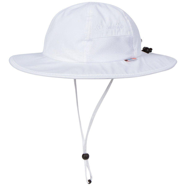 "Kid's Wide Brim Sun Hat ""Fun Sun Day Play Hat"" - Multiple Colors-0-6 Month-White-SwimZip UPF 50+ Sun Protective Swimwear & UV Zipper Rash Guards-pos1"