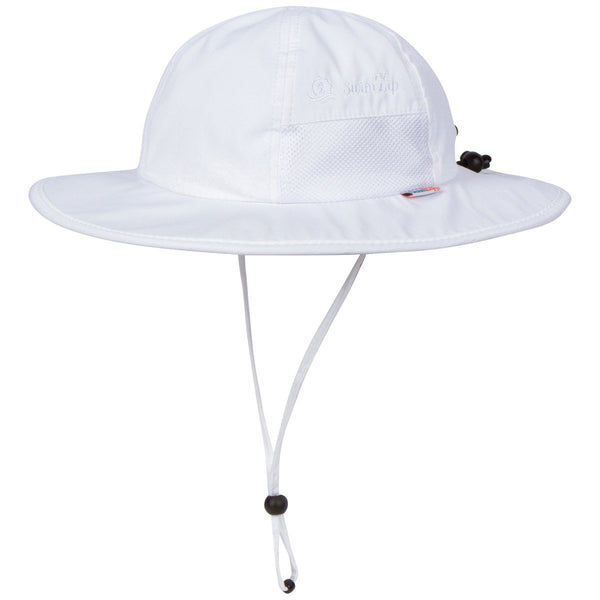 "Kid's Wide Brim Sun Hat ""Fun Sun Day Play Hat"" - White-0-6 Month-White-SwimZip UPF 50+ Sun Protective Swimwear & UV Zipper Rash Guards-pos1"