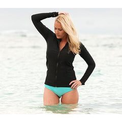 Women Long Sleeve Black Rash Guard Shirt by SwimZip