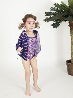 "Little Girl One-Piece Swimsuit and Long Sleeve Rash Guard Set (2 Piece) - ""Diamonds Are Forever"""
