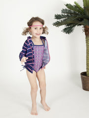 Little Girl One-Piece Swimsuit and Long Sleeve Rash Guard Set (2 Piece) -