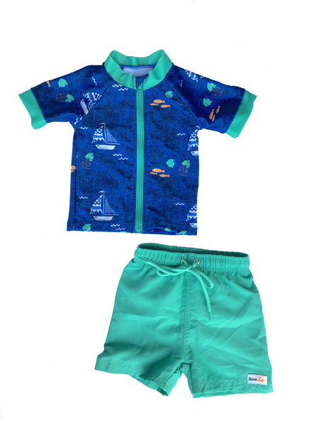 "Baby Boy Short Sleeve Rash Guard Swimsuit Set (2 Piece) with SPF 50+ - ""Captain Kid"""
