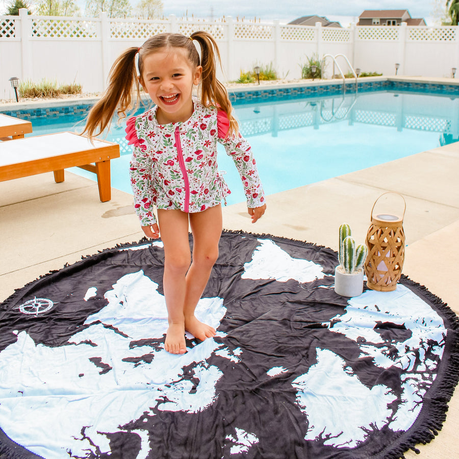"Round Beach Towel - ""Voyage Around The World""-1 Size-Voyage Around the World-SwimZip UPF 50+ Sun Protective Swimwear & UV Zipper Rash Guards-pos2"