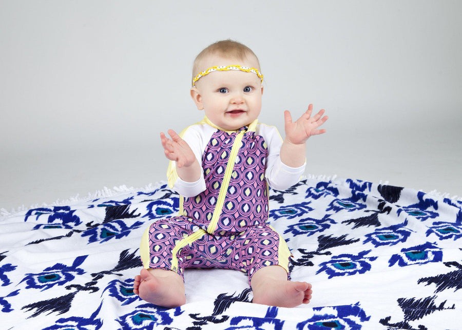 "Baby Girl Long Sleeve Romper with UPF 50+ UV Sun Protection - ""Diamonds are Forever"""