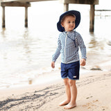 "Boy ""Catch a Wave"" Swim Trunks - Multiple Colors-SwimZip UPF 50+ Sun Protective Swimwear & UV Zipper Rash Guards-pos2"