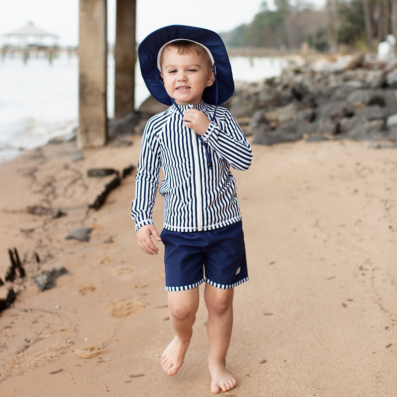 "Boy ""Catch a Wave"" Swim Trunks - Multiple Colors-SwimZip UPF 50+ Sun Protective Swimwear & UV Zipper Rash Guards-pos14"