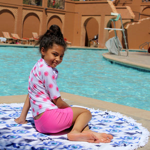 Girls' Short Sleeve Rash Guard Tankini Shorts Set (3 Piece) - Multiple Colors - SwimZip Sun Protection Swimwear