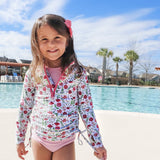 Girl's Long Sleeve Swim Dress Cover Up - Multiple Colors-SwimZip UPF 50+ Sun Protective Swimwear & UV Zipper Rash Guards-pos14