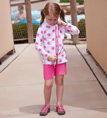 Long Sleeve Rash Guard Shorts Set for Girls