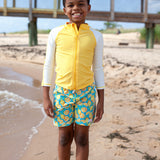 "Boy's Long Sleeve Rash Guard and Swim Trunk Set - ""Lemons""-SwimZip UPF 50+ Sun Protective Swimwear & UV Zipper Rash Guards-pos9"