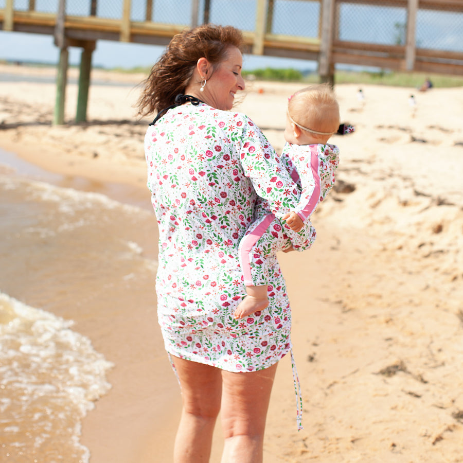 "Women's Half Zip Swim Dress Cover Up - ""Floral Garden"" - SwimZip Sun Protection Swimwear"