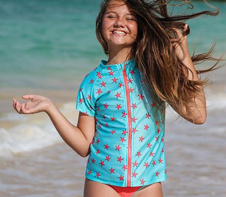 Tween Girl Size 12-14 Rash Guard Set (3 Piece) - Star Fish