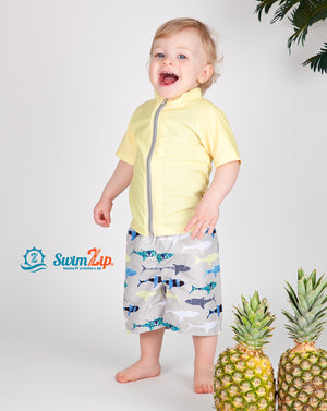 "Boy's Short Sleeve Rash Guard Swimsuit Set - ""Shark Feast"" - SwimZip Sun Protection Swimwear"