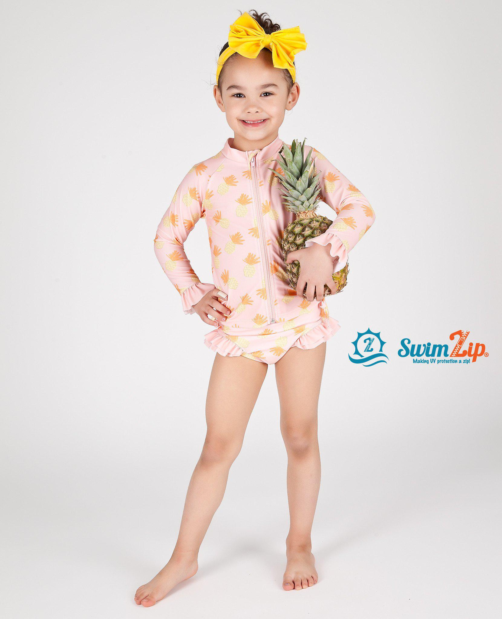 aa5c5641b6 Little Girl Long Sleeve Girl Rash Guard Swimsuit Set (2 Piece) -