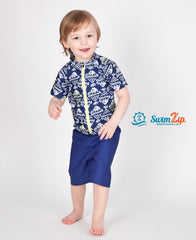 Little Boy Short Sleeve Rash Guard Swimsuit Set (2 Piece) with SPF 50+ -