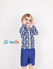 boy long sleeve fish swimsuit