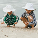 "Kid's Wide Brim Sun Hat ""Fun Sun Day Play Hat"" - White-SwimZip UPF 50+ Sun Protective Swimwear & UV Zipper Rash Guards-pos6"