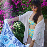 "Round Beach Towel - ""Ocean Blues""-1 Size-Ocean Blues-SwimZip UPF 50+ Sun Protective Swimwear & UV Zipper Rash Guards-pos4"