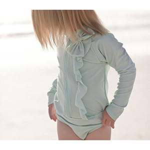 "Little Girl Long Sleeve Girl Rash Guard Swimsuit Set (2 Piece) - ""Mint Chip"" - SwimZip Sun Protection Swimwear"