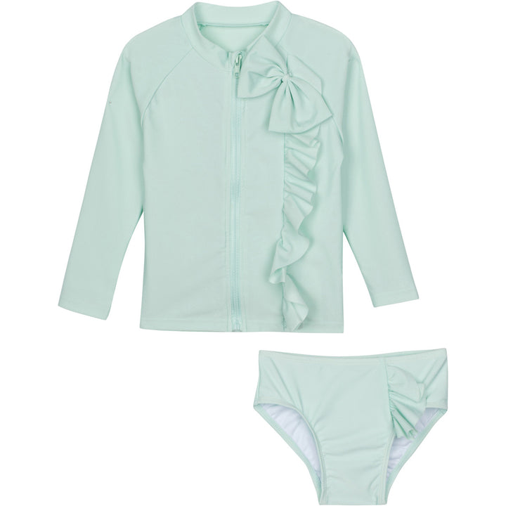 "Baby Girl Zip Long Sleeve Rash Guard Swimsuit Set (2 Piece) - ""Mint Chip"" - SwimZip Sun Protection Swimwear"