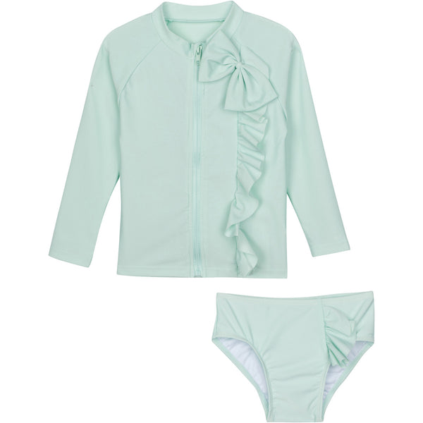 "Baby Girl Zip Long Sleeve Rash Guard Swimsuit Set (2 Piece) - ""Mint Chip"""