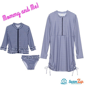 toddler sun protection swimwear navy stripe
