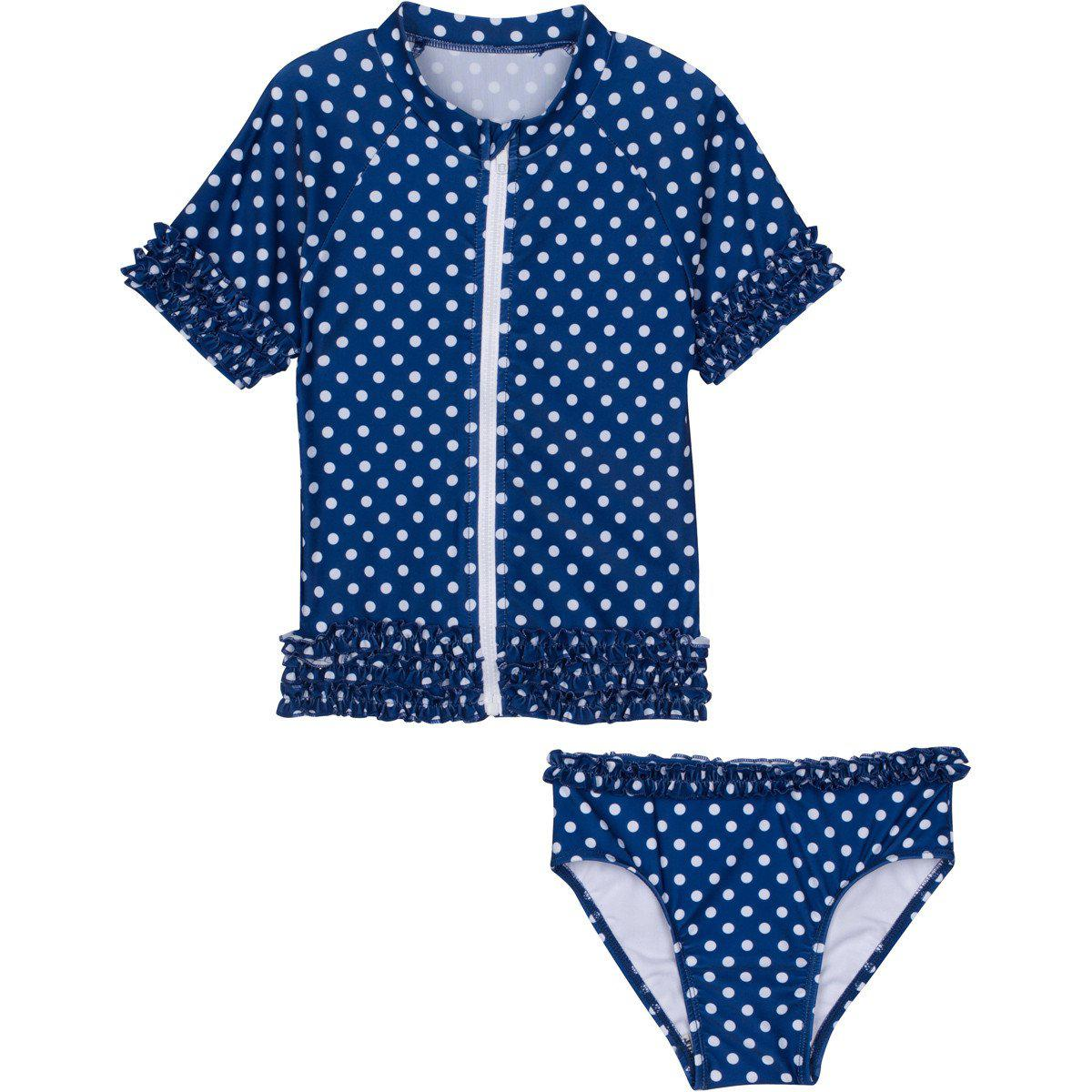 little girl navy white polka dot ruffle bathing suit by swimzip