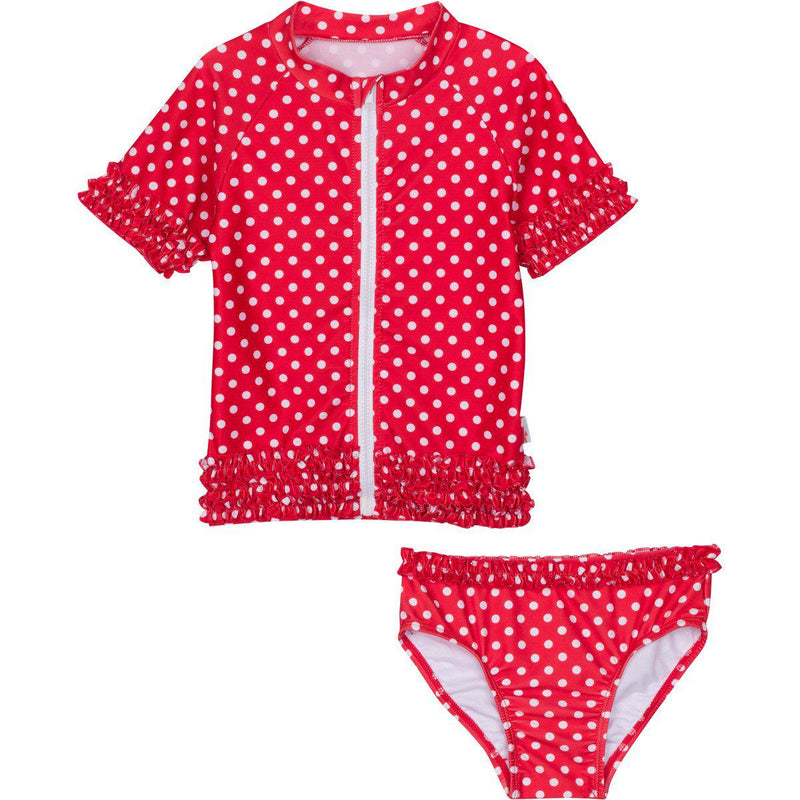 "Girl's Short Sleeve Rash Guard Swimsuit Set (2 Piece) - ""Sassy Surfer"" - Multiple Colors-6-12 Month-Red-SwimZip UPF 50+ Sun Protective Swimwear & UV Zipper Rash Guards-pos3"