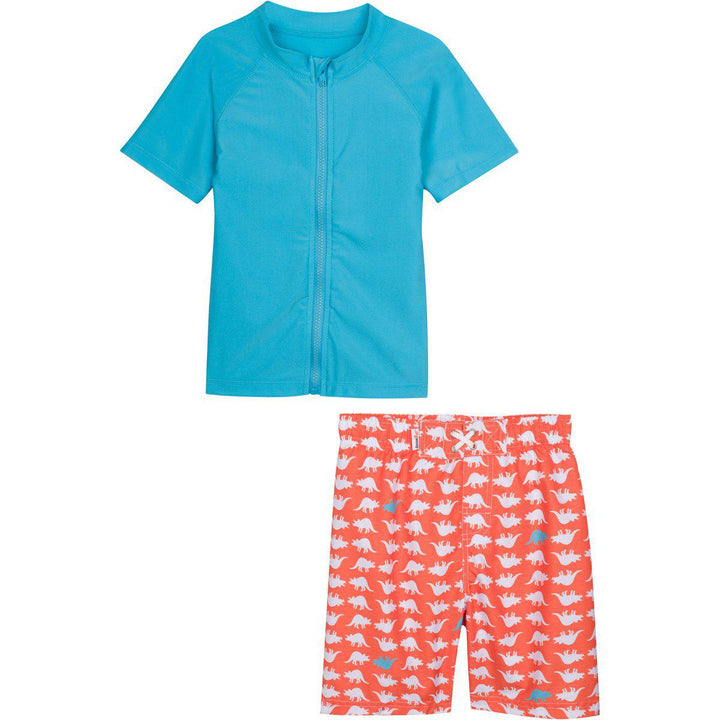 "Little Boy Short Sleeve Rash Guard Swimsuit Set - ""Dino-Mite"" Orange - SwimZip Sun Protection Swimwear"