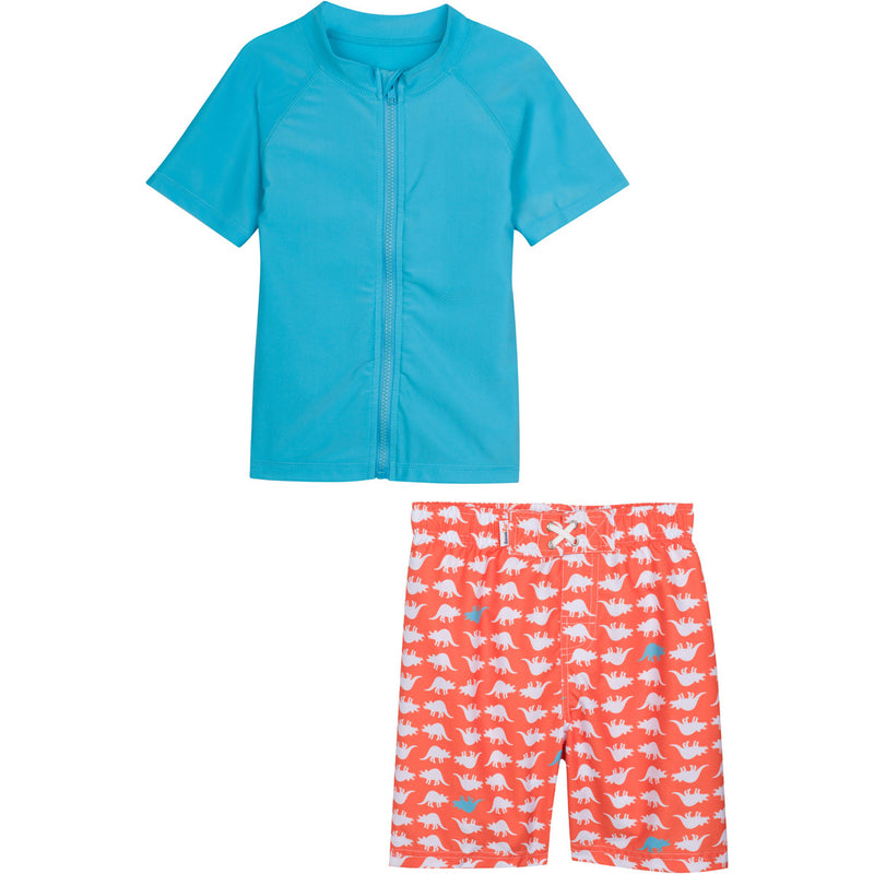"Baby Boy Short Sleeve Rash Guard Swimsuit Set - ""Dino-Mite""-0-3 Month-Orange-SwimZip UPF 50+ Sun Protective Swimwear & UV Zipper Rash Guards-pos1"