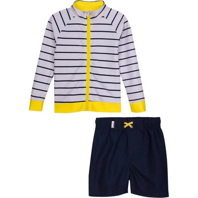 Little Boy Zipper Long sleeve stripe Rash Guard Set by SwimZip yellow sun protection toddler zip