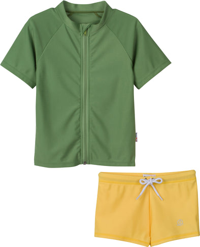 "Little Boy Rash Guard Set with Euro Shortie Trunks | ""Bon Voyage"" Kale / Primrose Yellow"