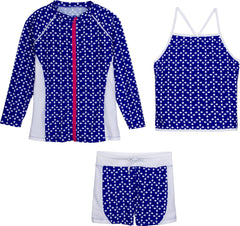 Tween Girl Long Sleeve Zipper Rash Guard Shorts Set and Tankini by Swim Zip