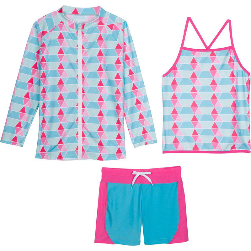 "Little Girl Long Sleeve Rash Guard Shorts Set - 3 Piece ""Pool Party""-12-18 Month-Blue-SwimZip UPF 50+ Sun Protective Swimwear & UV Zipper Rash Guards-pos1"