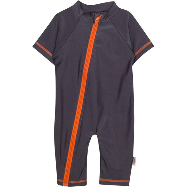 "Sunsuit - ""Hard Working Man"" Boy Short Sleeve Zipper Romper SPF 50+ - Gray"