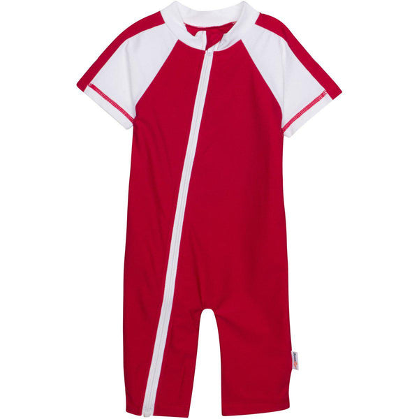 "Sunsuit - ""Surfer Dude"" Boy Red Short Sleeve Zipper Romper"